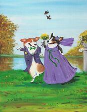 8x10 Print Of Painting Pembroke Welsh Corgi Ryta Wedding Folk Gift Funny Pets