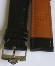 20mm genuine black leather bracelet band with steel watch buckle fit Tag Heuer