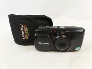 Black Weatherproof Film Olympus Camera with Flash and Zoom Lens 35-70mm