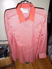 Mens Vintage Kenny Rogers Karman Red Check Snap Long Sleeve Shirt SZ 17.5 35 EUC