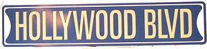 "Hollywood BLVD Street Road Sign Tin 24"" x 5"" Man Cave Garage Shed Bar Pool Room"