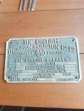 Vintage Brass Plaque British Thomas Houston