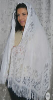 White Head Covering for Jewish women Shabbat and Holidays.Design Scarf & beads
