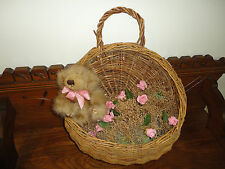 Vintage Hanging Wicker Basket Door Ornament with Furry Bear Pink Roses Handmade