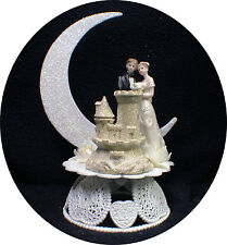 Sand Castle Beach Florida Wedding Cake Topper. Ocean Lake bride and Groom Top