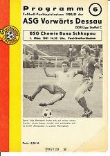 DDR-Liga 80/81 ASG hacia adelante Dessau-BSG Chemie Buna Schkopau 01.03.1981