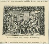 ANTIQUE PRINT ON PAPER OF GERMAN IVORY CARVING THREE WISE MEN MADONNA CHRIST ART