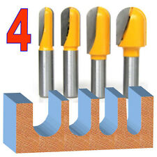 """4pc 1/2"""" SH  1/2, 5/8, 3/4 and 1 Diameter Ball Round Nose Router Bit Set sct-888"""