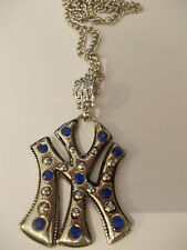COLLANA  CATENA  SIMBOLO NEW YORK  STRASS BLU   BIGIOTTERIA  - FESTIVANYA -