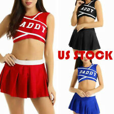 US Womens Adult Cheerleader Cosplay Costume Sexy Crop Top Mini Pleated Skirt