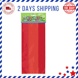 Red Cellophane Bags Christmas Valentine's Day Solid Pattern 30 Total Eaches