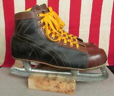Vintage 1950s Leather Two-Tone Mens Ice Hockey Skates Winslow Blades Sz.10 Nice!