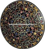 Black Marble Coffee Table Top Rare Stone Inlay Marquetry Decor Furniture H2889