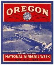 USA Poster Stamp - Oregon - Bonneville Dam / National Airmail Week - 1938