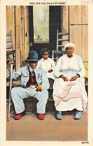 G74/ Black Americana Postcard Linen Old Folks at Home Cane Child  18