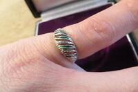 Schöner 800 Silber Ring Email Grün Designer 70er Jugendstil Art Deco