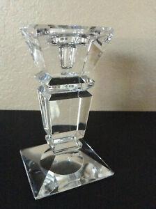 """Vintage Orrefors Swedish Style Large Crystal Candle Stick Holder Prism Glass 8"""""""