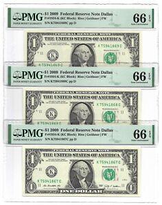 2009 $1 DALLAS FRNs, 3 CONSECUTIVE & PMG GEM UNCIRCULATED 66 EPQ BANKNOTES