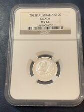 Australia 2013 P 10 Cents 1/10 Ounce Silver Koala MS68 NGC