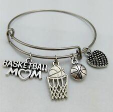 Sporty Style Basketball Mom Charm Stainless Steel Adjustable  Bracelet Jewelry