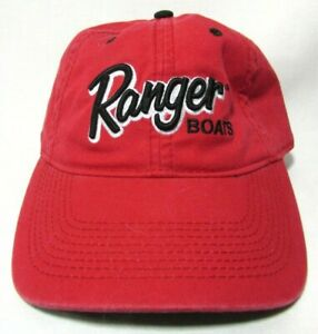Ranger Boats Fishing Ball Cap Hat Red Black Stitching Adjustable Strap Cotton