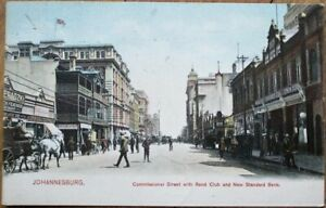Johannesburg, South Africa 1909 Postcard: Commissioner Street, Rand Club, Bank
