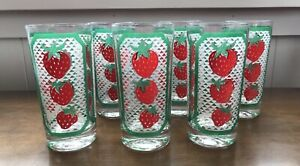 Vintage Highball Glasses with Strawberries (unmarked) - Lot Of 7