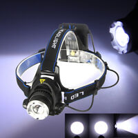 10000Lm XM-L T6 LED Headlamp Head Light Torch Zoom Zoomable 3Modes Hunting Lamp