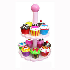 Fun Factory High Tea Set 12 Cupcakes Stand Pretend Play Food Cake Wooden Toy