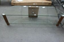 "CENTURY 65"" CLEAR GLASS AND WALNUT WOOD EFFECT TV STAND"