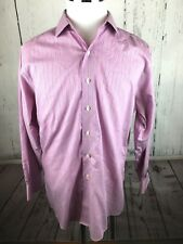 BROOKS BROTHERS Men's SLIM FIT NON-IRON Pink Striped Long Sleeve Shirt 17-4/5