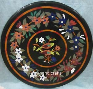 24 Inches Round Shape Sofa Table Top with Inlay Work Coffee Table for Office Use