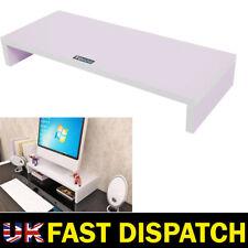 White & Computer Desktop Monitor Stand Laptop TV Display Screen Riser Shelf UK