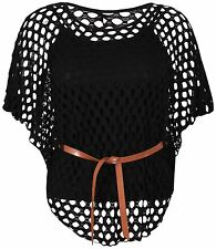 Womens Crochet Cami Sole Inner Vest Mesh Plus Size Belted Batwing Jumper Tops Black 24-26