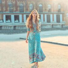 Womens Boho Long Maxi Dress Loose Plus Size Beach Holiday Casual Summer Sundress