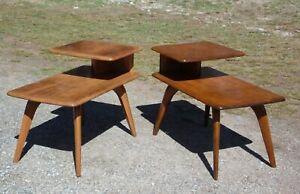 Vintage Mid Century Modern Pair Heywood Wakefield Birch Step End Tables Stands