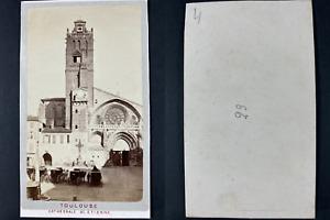 France, Toulouse, Cathédrale Saint-Étienne Vintage cdv albumen print CDV, tira