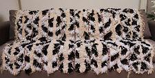 Vintage Wedding Blanket Moroccan Handira Handmade Berber Sequins Throw Rug 0497