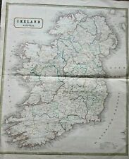 1855? George Philip Map Ireland & Railways Johnson Large 66x54cms Antique Train