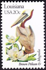 US - 1982 - 20 Cents Louisiana State Bird & Flower Perf 11 #1970A Mint NH F-VF