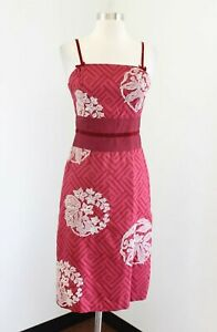 Beth Bowley Anthropologie Red Geometric Embroidered Silk Dress Size 2 Floral