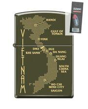 Zippo 0585 Map of Vietnam Green Matte Finish Full Size Lighter + FLINT PACK