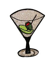 Artist ChuckWagon Teeny Alcohol Martini Embroidered Iron On Applique Patch FD