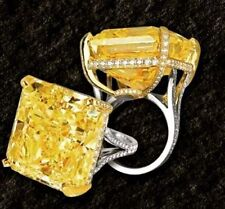 15ct Cocktail Party Ring 925 Sterling Silver Yellow Cushion Split Shank Women Cz