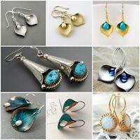925 Silver Dangle Drop Earrings Ear Hook Sapphire Women Fashion Jewelry Gift