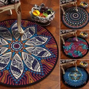 Ethnic Mandala Lotus Round Rug Non-slip Carpet Velboa Yoga Mat Floor Chair Mat