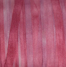 100% Pure Silk Ribbon Pink 4mm Embroidery Hand Dyed Cherry Blossom - 3mtr
