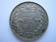 1878 Young Head silver Threepence, VF.