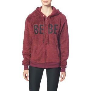 Bebe Sport Sherpa Embroidered Cozy Full Zip Active Hoodie for Women
