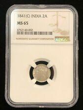 INDIA 2 Annas 1841 C, NGC MS 65, GEM UNC, Superb Queen Victoria Silver Example
